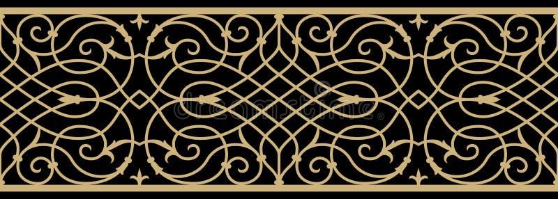 Frontière médiévale de travail de fer illustration stock