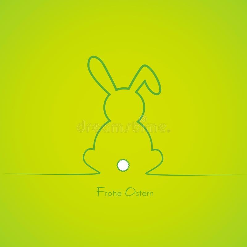 Frontière mignonne verte de lapin de Pâques avec le texte allemand Joyeuses Pâques illustration stock