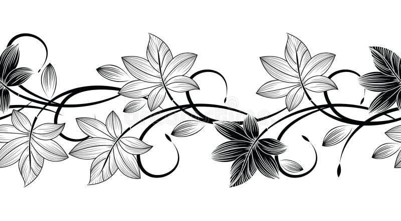Frontière monochrome créative de feuilles de vecteur sans couture illustration stock