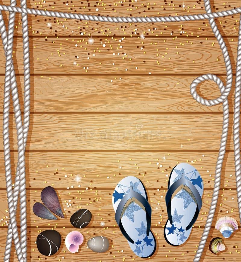 Frontière nautique avec des bascules, des cailloux, des coquilles de mer et des cordes sur un fond des conseils en bois avec le c illustration stock
