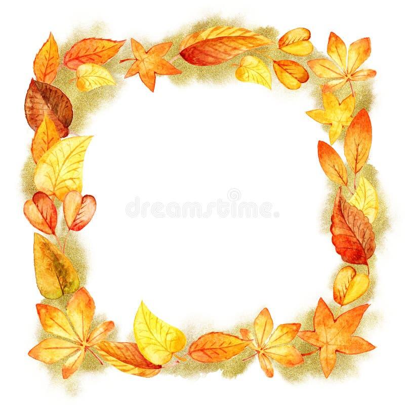 Frontière orange de feuille d'isolement par aquarelle d'Autumn Leaves Fall Frame Template formes de scintillement d'or Calibre po illustration stock