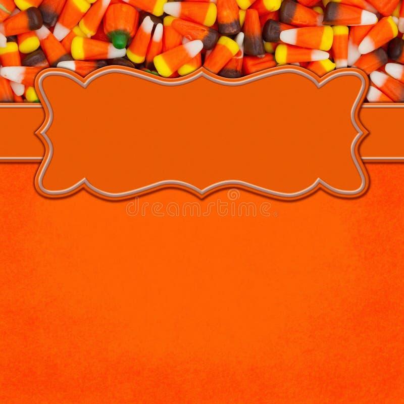 Frontière orange de place de bonbons au maïs à Halloween avec l'espace de copie image libre de droits