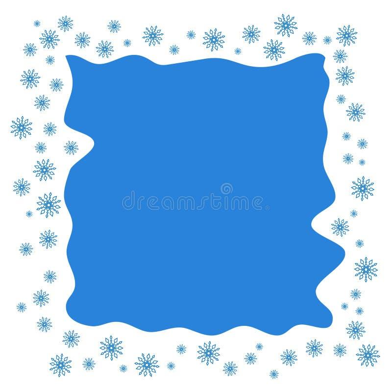 Frontière ou cadre carrée de Noël avec le sno en baisse de dispersion aléatoire illustration libre de droits