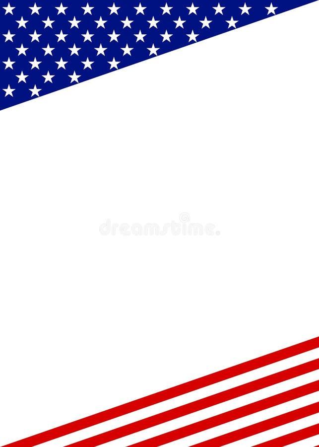 Frontière patriotique de cadre sur le blanc illustration stock
