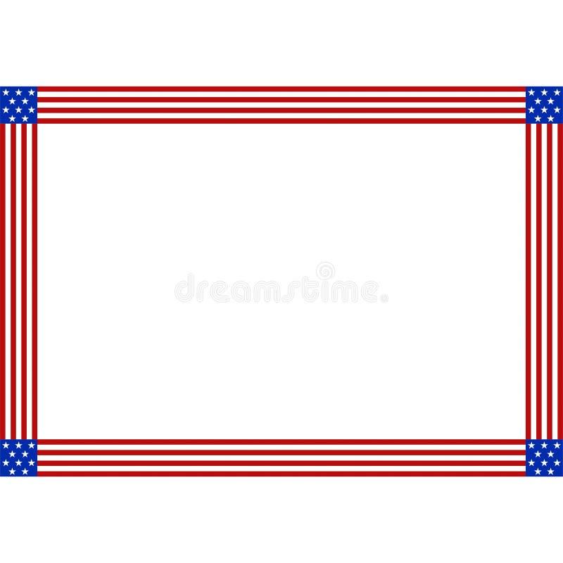 Frontière patriotique de drapeau américain de vecteur d'actions avec l'espace de copie pour illustration stock