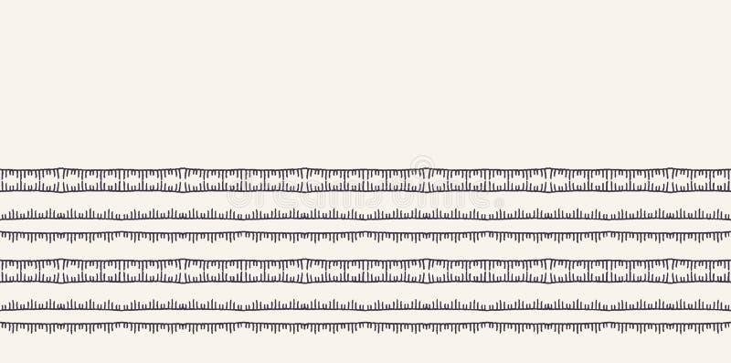 Frontière piquante de rayures de broderie décorative Bannière victorienne de modèle de couture Équilibre ornemental de ruban de t illustration stock