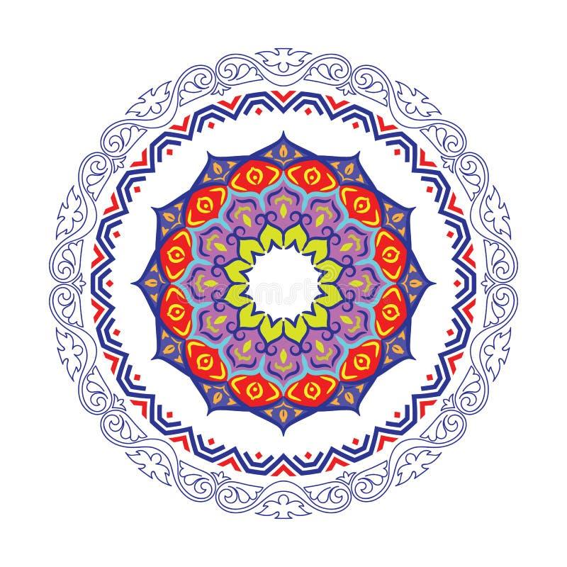 Frontière ronde décorative de cadre avec le style baroque antique pour la conception de plat Illustration de vecteur illustration stock