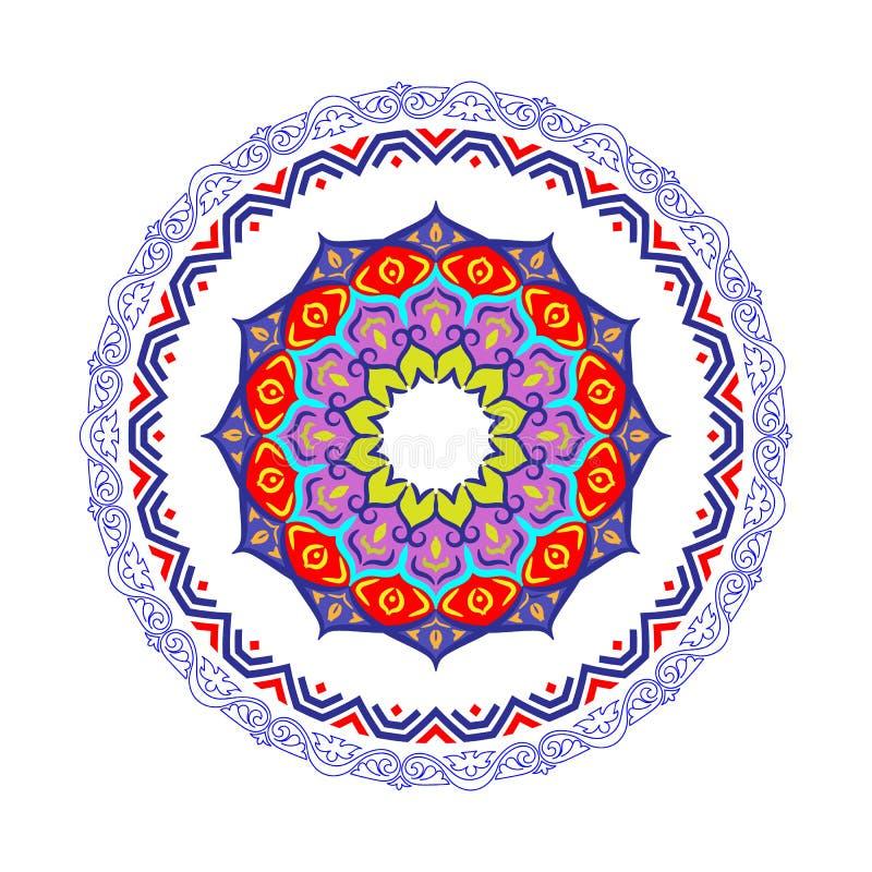 Frontière ronde décorative de cadre avec le style baroque antique pour la conception de plat Illustration de vecteur illustration libre de droits