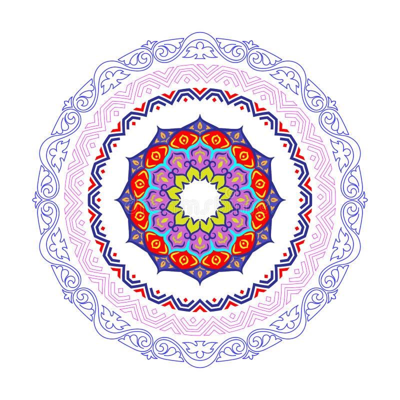 Frontière ronde décorative de cadre avec le style baroque antique pour la conception de plat Illustration de vecteur illustration de vecteur