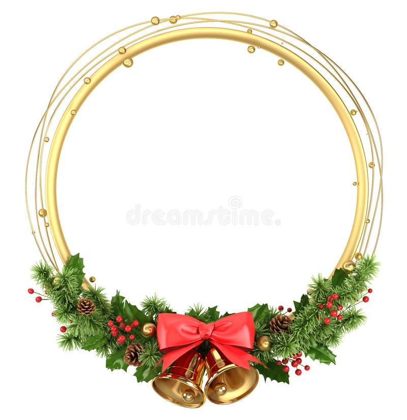 Frontière ronde de cadre de cercle avec la décoration de Noël illustration stock
