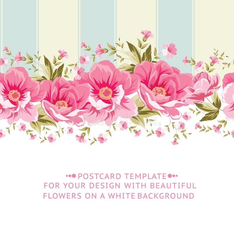Frontière rose fleurie de fleur avec la tuile illustration libre de droits