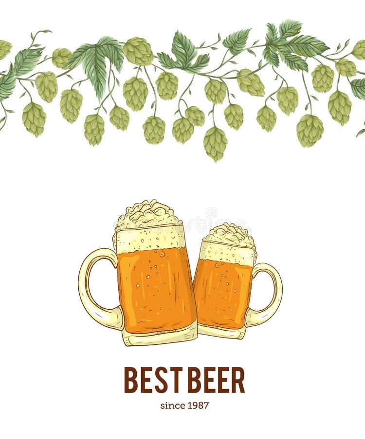 Frontière sans couture avec des houblon et des verres de bière Cônes, feuilles et branches illustration de vecteur