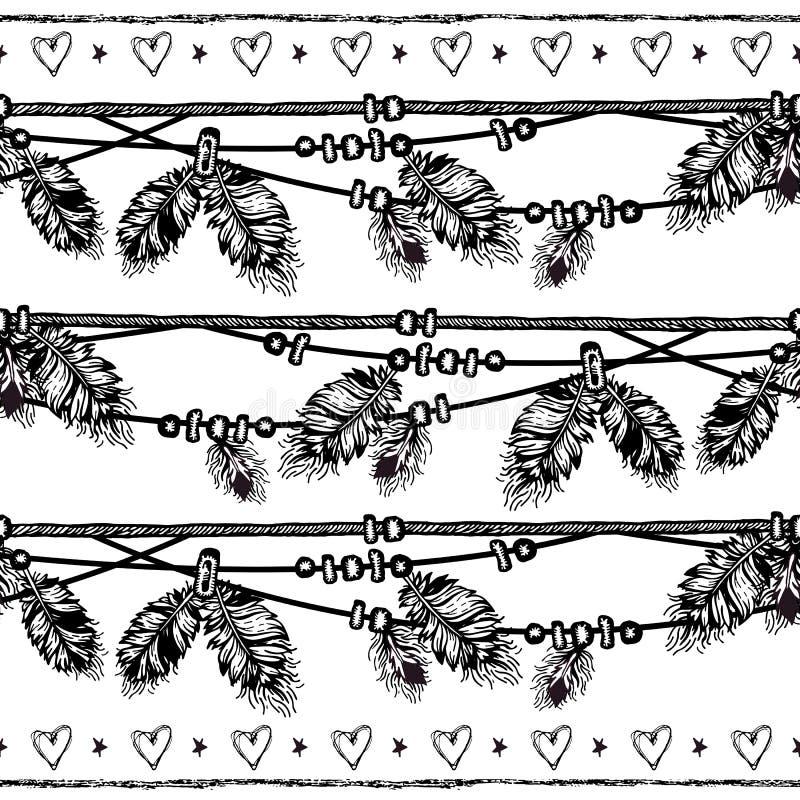 Frontière sans couture avec des plumes et des cristaux illustration stock