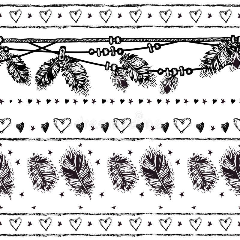 Frontière sans couture avec des plumes et des cristaux illustration de vecteur