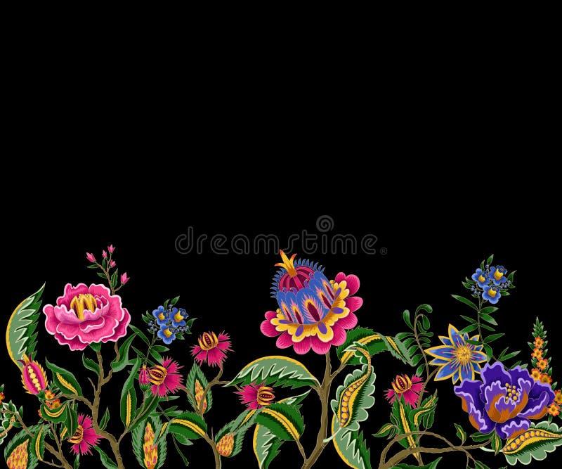 Frontière sans couture avec les éléments ethniques indiens d'ornement Fleurs et feuilles folkloriques pour la copie ou la broderi illustration libre de droits
