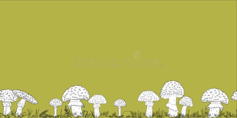 Frontière sans couture avec les champignons tirés par la main sur le fond de couleur images libres de droits