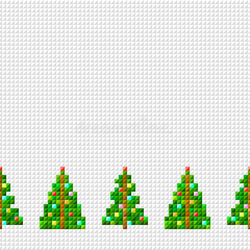 Frontière sans couture décorative de vecteur d'arbre de Noël d'art de pixel avec la guirlande sur le fond de pixel illustration de vecteur