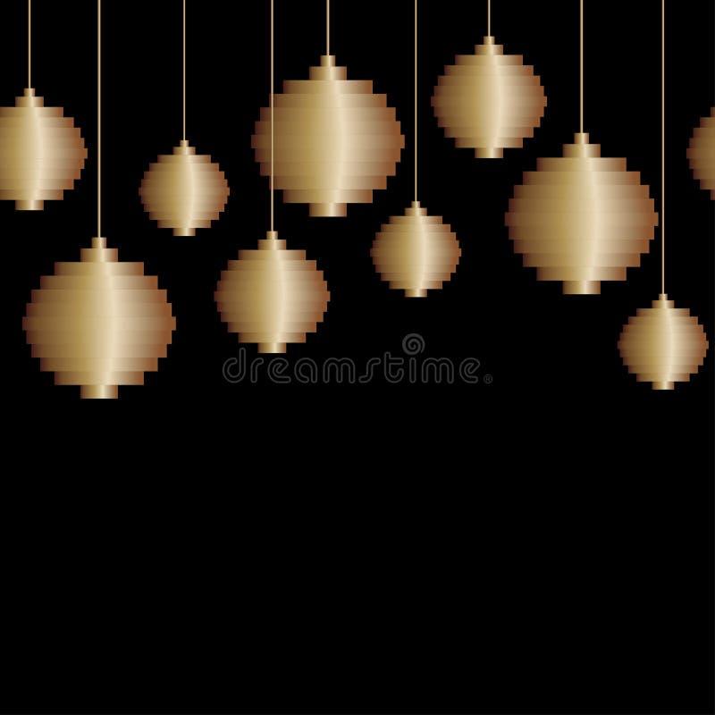 Frontière sans couture décorative de vecteur de jouet d'or de boule d'arbre de Noël d'art de pixel sur le fond noir Fond minimali illustration libre de droits