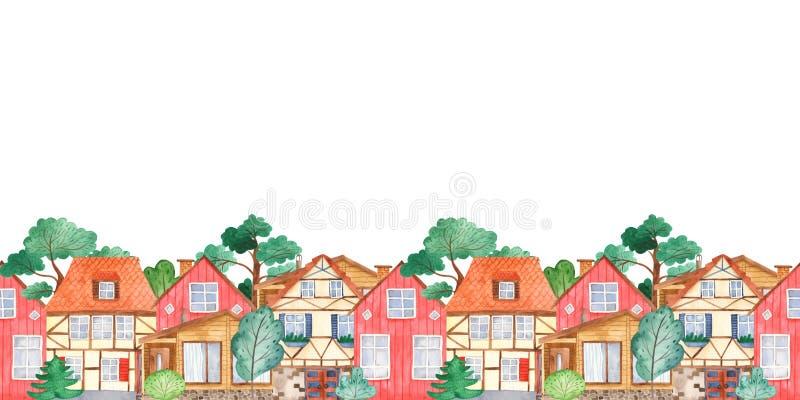 Frontière sans couture d'aquarelle avec les maisons et les arbres mignons doux illustration libre de droits