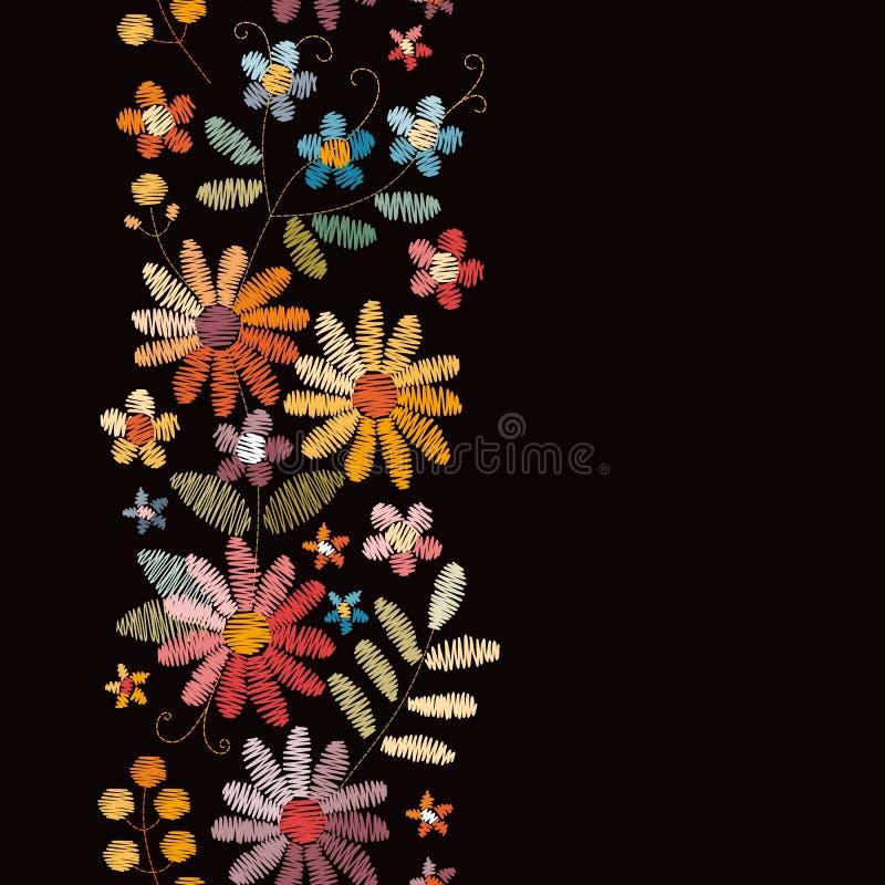 Frontière sans couture de broderie avec de belles fleurs d'été Conception pour des cartes de salutation et d'invitation illustration de vecteur