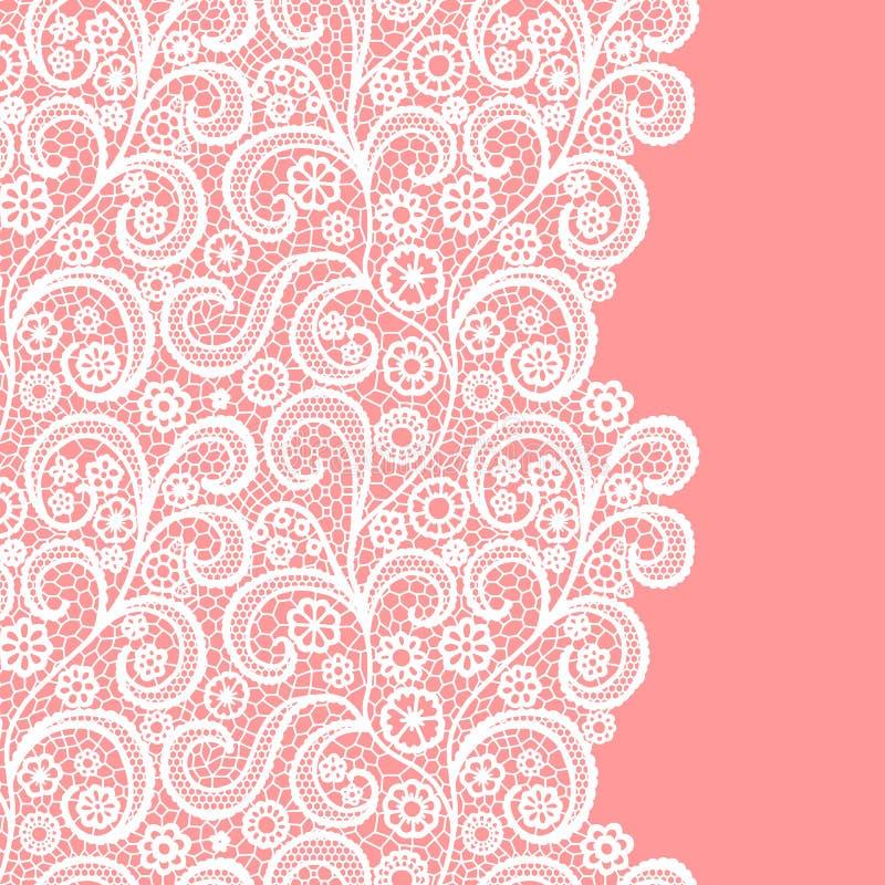 Frontière sans couture de dentelle Illustration de vecteur Équilibre élégant de vintage de dentelle blanc Carte _1 d'invitation illustration stock