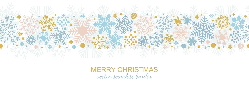 Frontière sans couture de flocon de neige, flocon de Noël illustration de vecteur