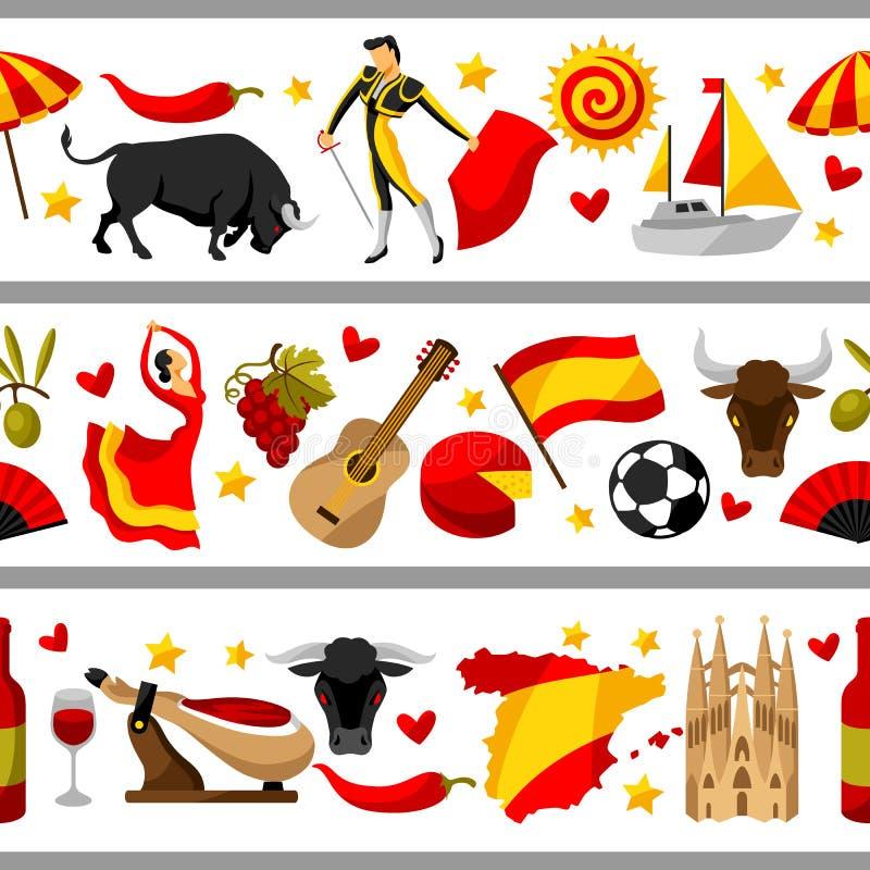 Frontière sans couture de l'Espagne Symboles et objets traditionnels espagnols illustration stock