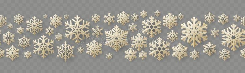 Frontière sans couture de Noël et de nouvelle année avec les flocons de neige de papier de cru ENV 10 illustration stock