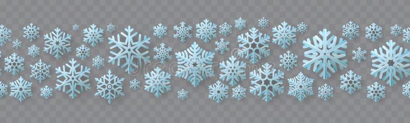 Frontière sans couture de Noël et de nouvelle année avec les flocons de neige de papier ENV 10 illustration libre de droits