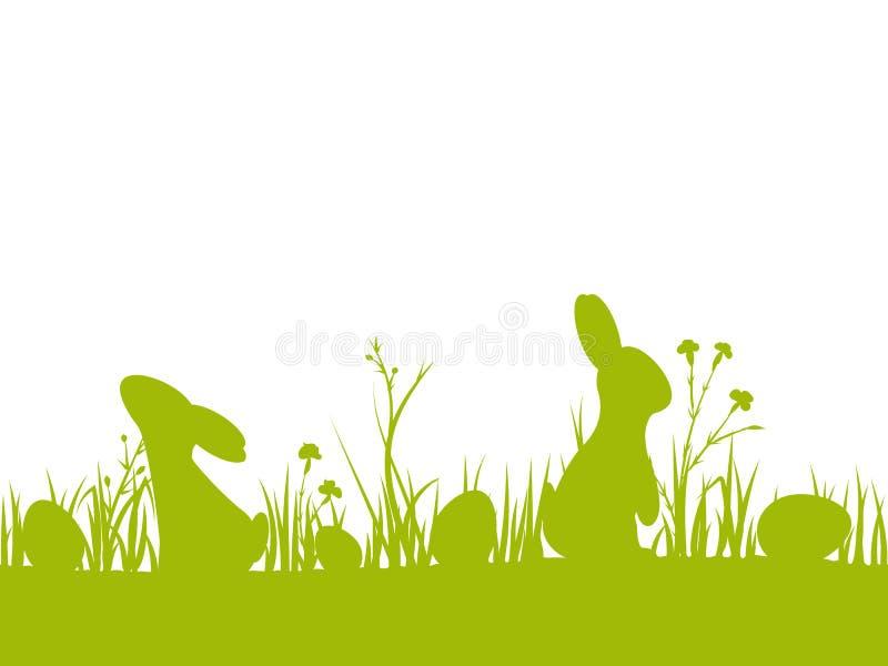 Frontière sans couture de Pâques avec des silhouettes des lapins, des oeufs, des fleurs et de l'herbe illustration libre de droits