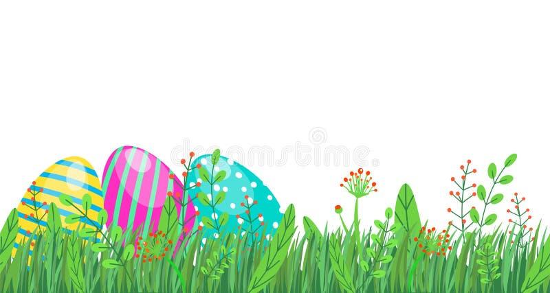 Frontière sans couture de Pâques avec les oeufs, l'herbe de ressort et les éléments floraux, fleurs d'isolement sur le fond blanc illustration libre de droits