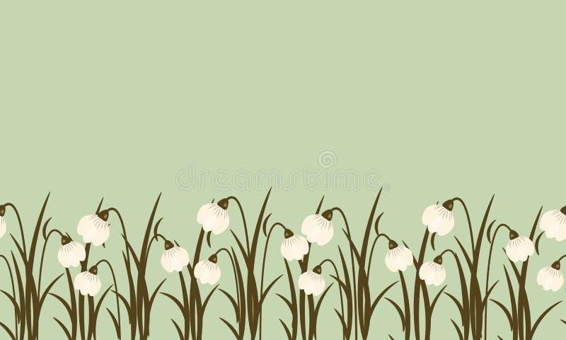 Frontière sans couture de perce-neige sur le fond vert poussiéreux pour femmes internationales jour le 8 mars Paysage mignon de f illustration de vecteur