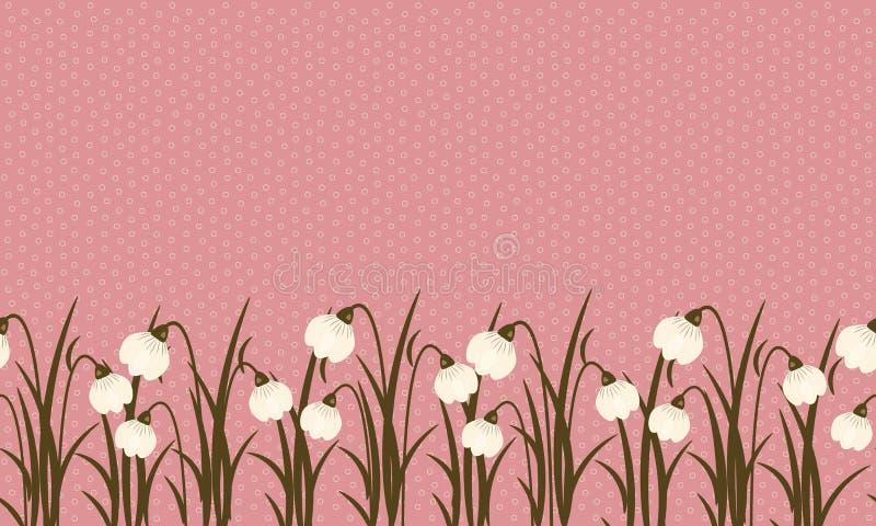 Frontière sans couture de perce-neige sur le rose poussiéreux dans le petit fond crème clair de cercles pour femmes international illustration de vecteur