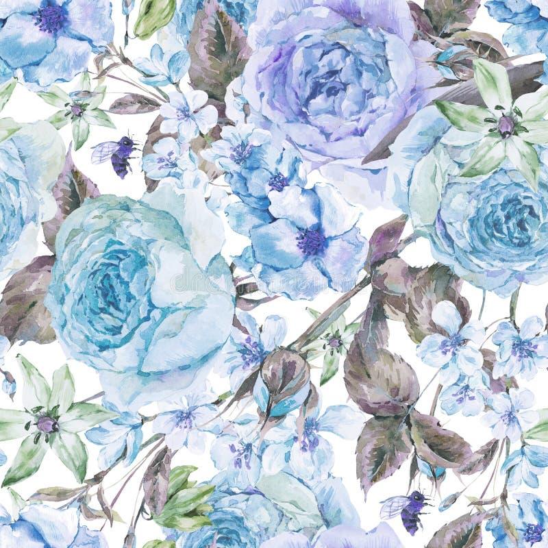 Frontière sans couture de ressort d'aquarelle avec les roses anglaises illustration de vecteur