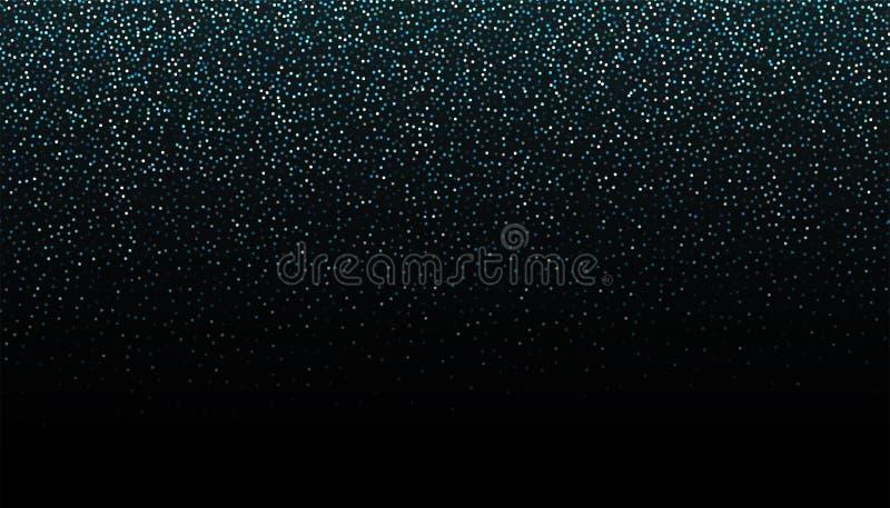 Frontière sans couture de scintillement argenté sur le fond noir Contexte en baisse éclatant de confettis Texture argentée de mir illustration libre de droits