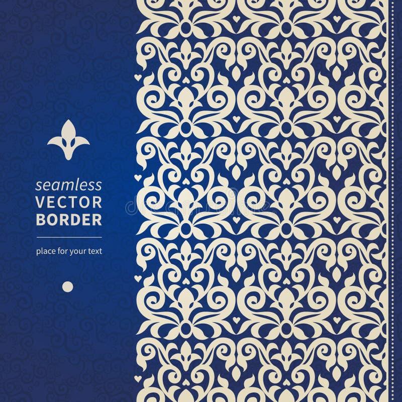 Frontière sans couture de vecteur décoratif dans le style victorien illustration stock
