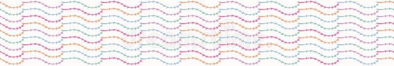 Frontière sans couture de vecteur de jolie de feuille rayure de tige Lignes incurvées abstraites tirées par la main illustration stock