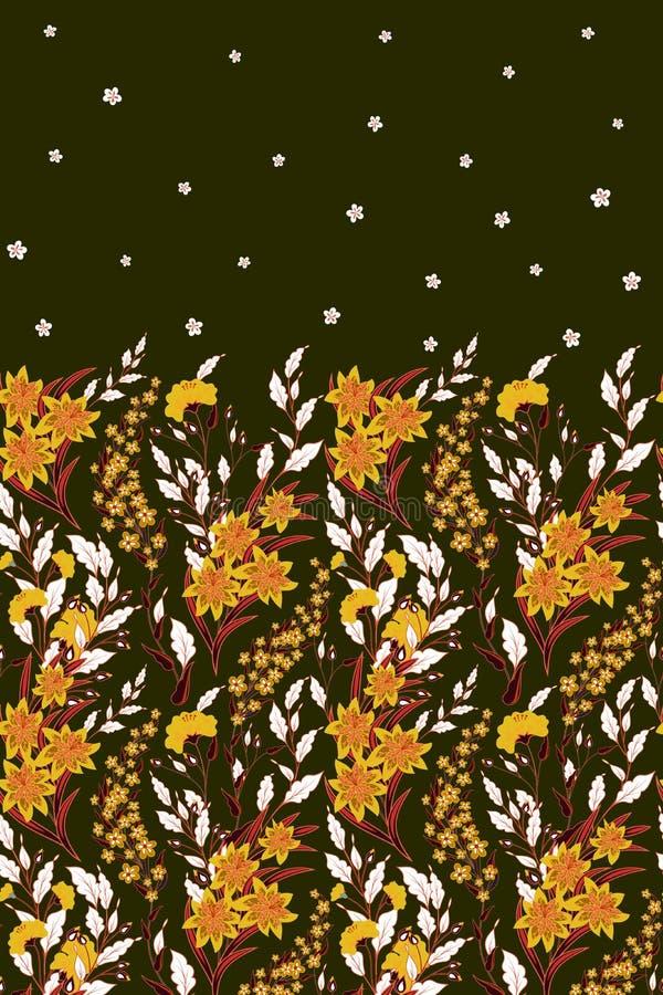 Frontière sans couture de vecteur tiré par la main des fleurs sauvages et des herbes Illustration ou fond graphique de fines herb illustration stock