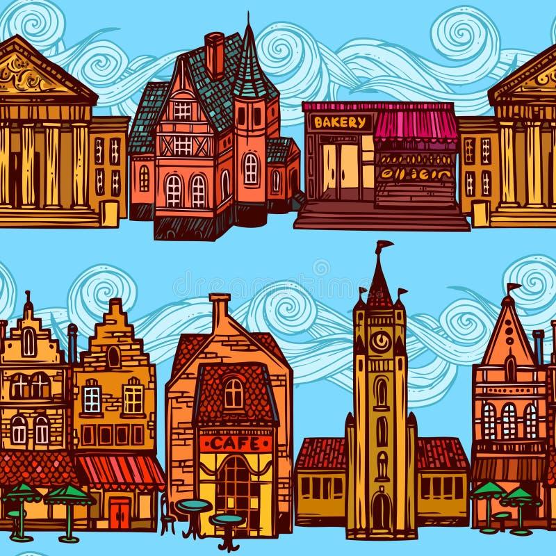 Frontière sans couture de ville de croquis illustration stock