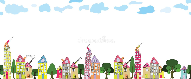Frontière sans couture des maisons tirées par la main de ville sur le fond transparent photo libre de droits