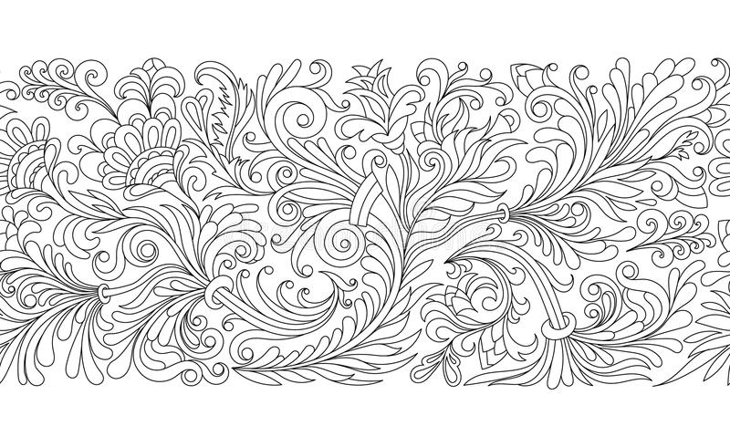 Frontière sans couture fleurie de vecteur dans le style oriental Élément pour la conception, endroit pour le texte Modèle ornemen illustration de vecteur