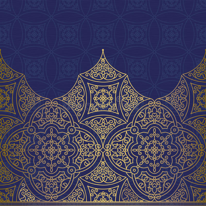 Frontière sans couture fleurie de vecteur dans le style oriental illustration de vecteur
