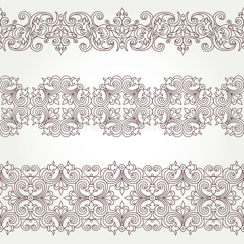 Frontière sans couture fleurie de vecteur dans le style victorien illustration stock