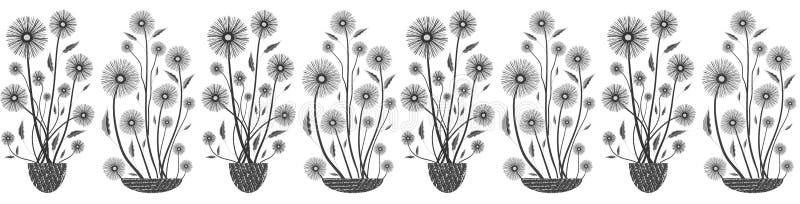 Frontière sans couture florale élégante moderne de vecteur en noir et blanc sur le fond blanc Fleurs tirées par la main et textur illustration libre de droits