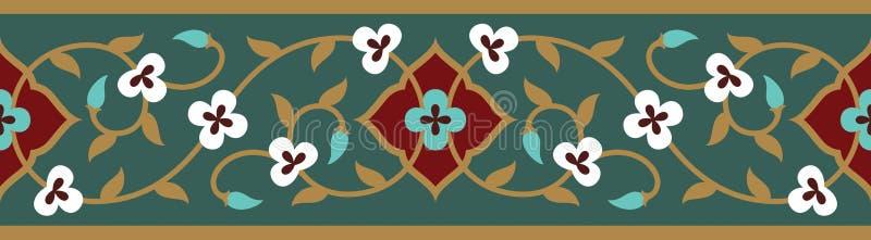 Frontière sans couture florale arabe Conception islamique traditionnelle illustration libre de droits