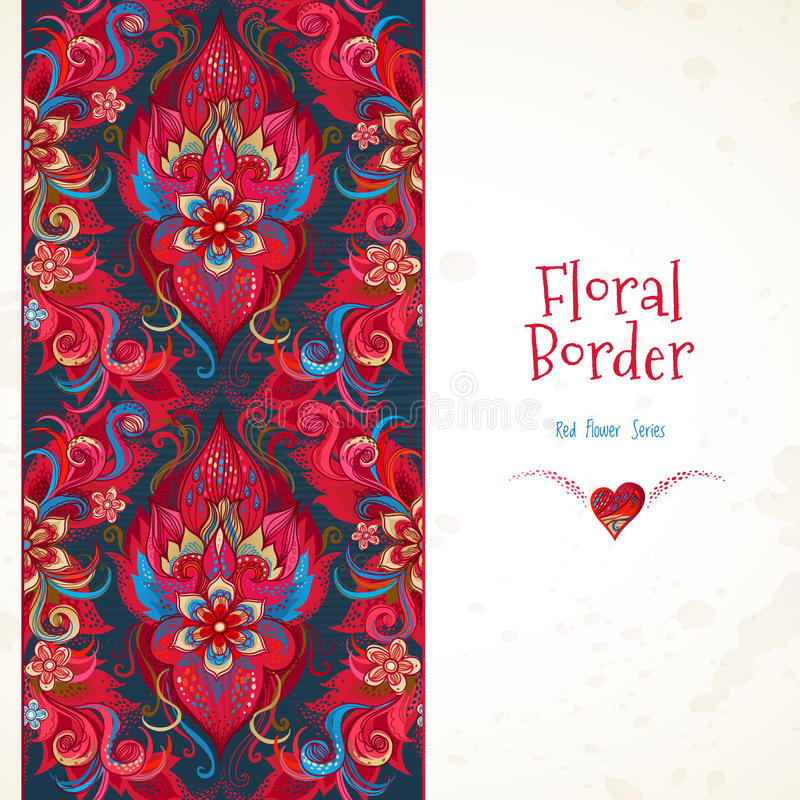 Frontière sans couture florale de vecteur dans des couleurs rouges illustration libre de droits