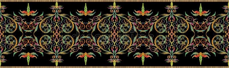 Frontière sans couture florale de vintage de tapisserie illustration stock