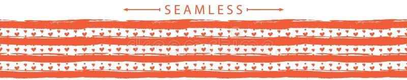 Frontière sans couture horizontale de vecteur romantique Jour du `s de Valentine illustration stock