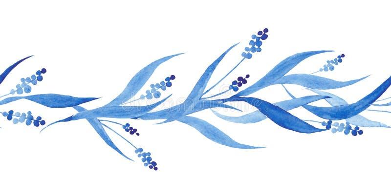 Frontière sans couture tirée par la main de bleu d'indigo, illustration de vecteur illustration stock