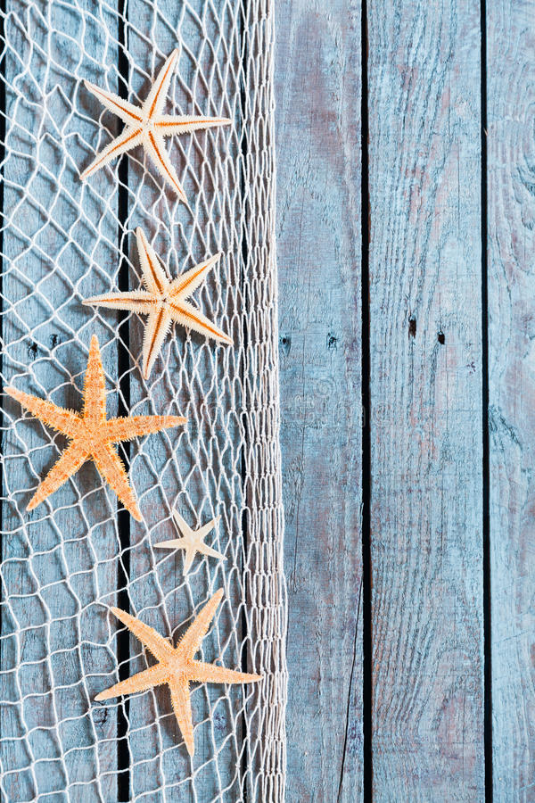 Frontière savoureuse de filet avec de petites étoiles de mer oranges images libres de droits